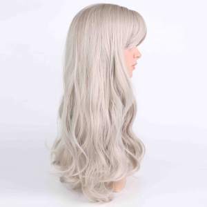 Long Fluffy Wavy Middle Parting Anime Wigs - LIGHT GRAY