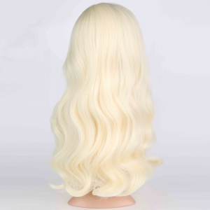 Long Side Parting Wavy Fluffy Anime Wigs - BLONDE
