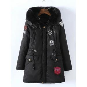 Plus Size Removable Fur Collar Padded Coat - Black - Xl
