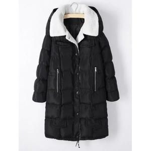 Plus Size Zipper Pocket Hooded Shearling Coat