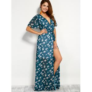 Bohemian Plunge Neck Print Wrap Maxi Dress -