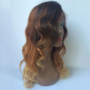 Long Side Parting Wavy Ombre Lace Front Human Hair Wig -