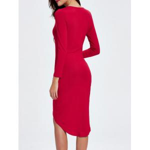 Plunging Neck Ruched Asymmetrical Dress - RED L