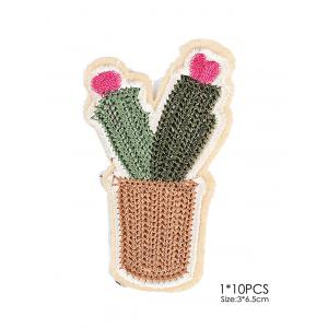 10 PCS Cactus Embroidered Patches