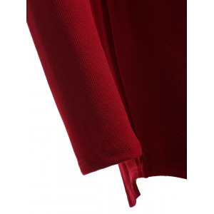 Plus Size Knitwear with Arc Hem - WINE RED 2XL