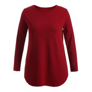 Plus Size Knitwear with Arc Hem - Wine Red - Xl