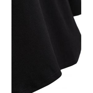 Plus Size Knitwear with Arc Hem - BLACK 5XL