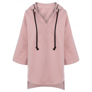 High Low Drawstring Hooded Coat - Pink - Xl