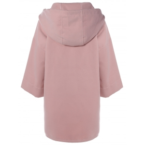 High Low Drawstring Hooded Coat - PINK XL