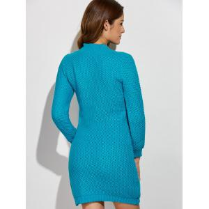 Crochet Pattern Long Sleeve Sweater Dress - LAKE BLUE ONE SIZE