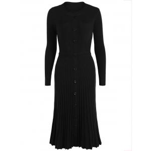 Knitting Button Up Long Sleeve Dress - Black - One Size