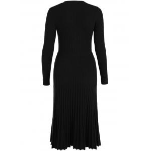 Knitting Button Up Long Sleeve Dress - BLACK ONE SIZE