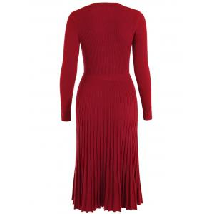 Knitting Button Up Long Sleeve Dress -