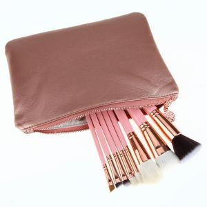 8 Pcs Goat Hair Makeup Brushes Set with Brush Bag - PINK