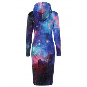 Drawstring Hooded 3D Galaxy Print Dress - BLUE L