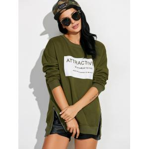 Drop Shoulder Sweatshirt with Zippers - ARMY GREEN XL