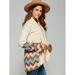 Drop Shoulder Zigzag Cardigan - OFF-WHITE ONE SIZE