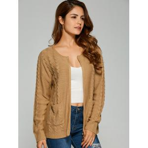 Cable Knit Cardigan With Pockets - CAMEL ONE SIZE
