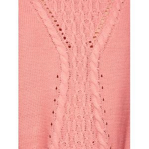 Long Drop Shoulder Butterfly Cable Knit Sweater - PINK ONE SIZE