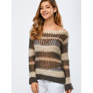 Color Block Hollow Out Crochet Chunky Sweater - OFF WHITE ONE SIZE