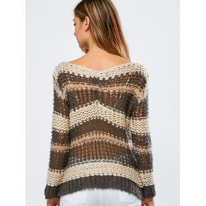 Color Block Hollow Out Crochet Chunky Sweater -