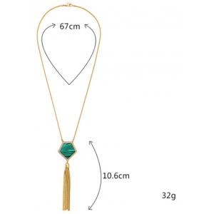 Faux Gemstone Tassel Sweater Chain - GOLDEN