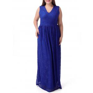 Plus Size Lace Long Princess Prom Dress - Royal Blue - 6xl