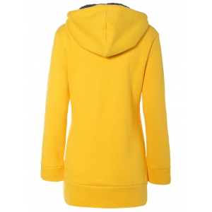 Drawstring N Graphic Flocking Hoodie -