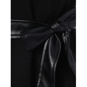 Belted High Collar Coat with Leather Sleeve - BLACK 2XL