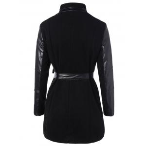 Belted High Collar Coat with Leather Sleeve -