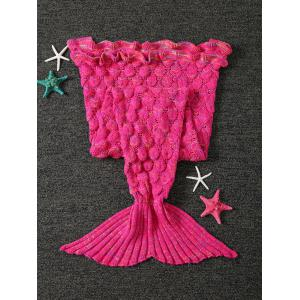 Knitted Openwork Fish Scale Design Mermaid Blanket For Kids -