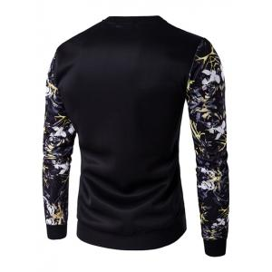 Rib Cuff Floral Sleeve Crew Neck Sweatshirt - BLACK 5XL
