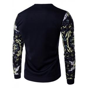 Rib Cuff Floral Sleeve Crew Neck Sweatshirt - CADETBLUE 3XL