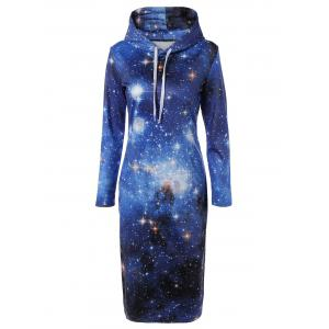 Hooded 3D Galaxy Print Pocket Design Dress