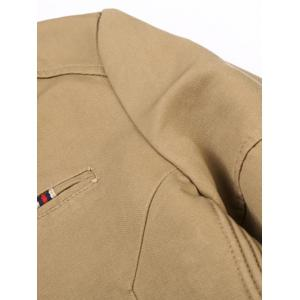 Stripe Selvedge Embellished Stand Collar Zip-Up Thicken Jacket - KHAKI 2XL