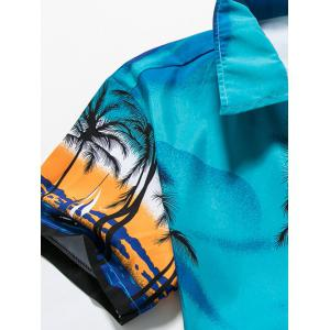 Tropical Printed Short Sleeve Hawaiian Shirt - BLUE 4XL