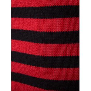 Half Zip Up Stand Collar Striped Sweater - RED 2XL