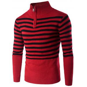 Half Zip Up Stand Collar Striped Sweater - Red - M