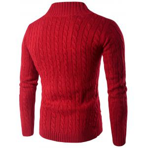 Stand Collar Half Zip Up Twist Sweater - RED 2XL
