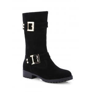 Double Buckle Zipper Flat Heel Mid-Calf Boots