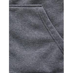 Hooded Simple Zip-Up Hoodie - GRAY 2XL