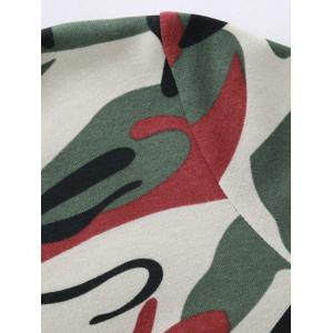 Hooded Camouflage Zip-Up Hoodie - RED M