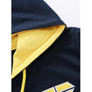 Hooded Color Block Splicing Zip-Up Embroidered Hoodie - CADETBLUE 2XL