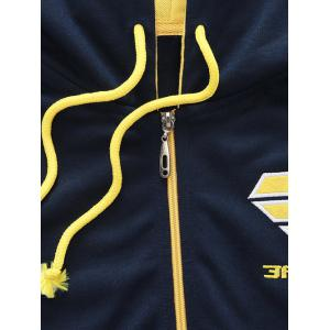 Hooded Color Block Splicing Zip-Up Embroidered Hoodie -