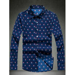 Sailing Print Turn-Down Collar Long Sleeve Shirt