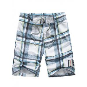 Tartan Pattern Lace-Up Straight Leg Shorts