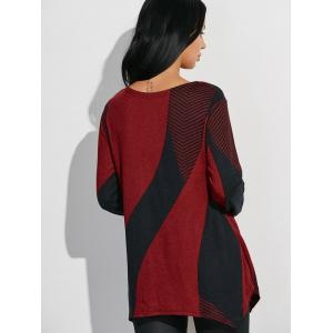Longline Color Block T-Shirt - RED WITH BLACK ONE SIZE