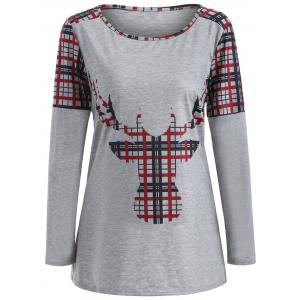 Elk Print Plaid Christmas Long Sleeve T-Shirt