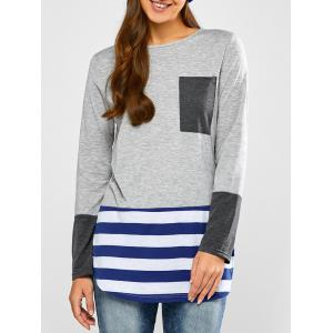 Striped Hem Pocket Longline T-Shirt