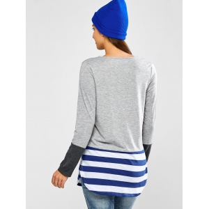 Striped Hem Pocket Longline T-Shirt - BLUE XL